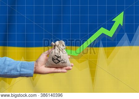 The Concept Of Economic Growth In Ukraine. Hand Holds A Bag With Money And An Upward Arrow.
