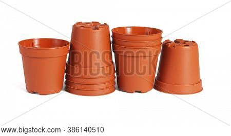 A Row of Mini Plastic flower Pots on White Background