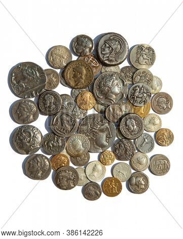 Collection of the ancient greek and roman coins on the white