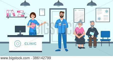 Clinic Rectption Room Or Hospital Holl With Medical Staff And Patients. Older Man And Woman Waiting