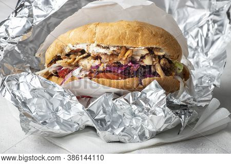 Closeup Of A Doner Kebap In Pita Bread