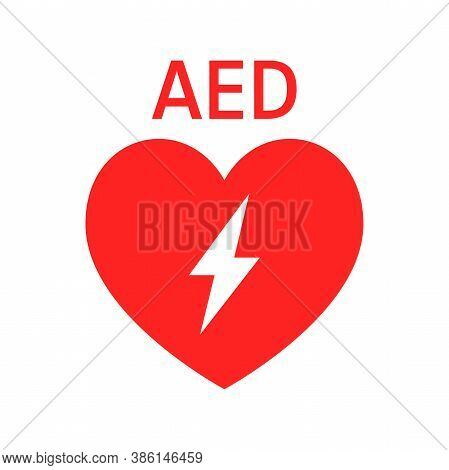 Aed Vector Icon. Red Heart With Sign Electricity. Sign Automated External Defibrillator.