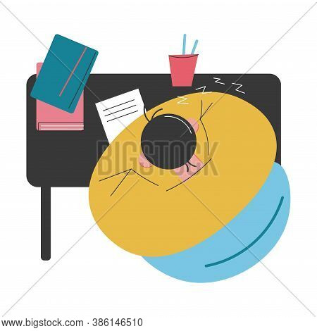Top View Of Man Sitting At Desk During Homework And Sleeping