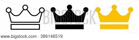 Set Of Flat Crown King Vector Icon. Black, Outline And Gold Royal Crowns On White Background.