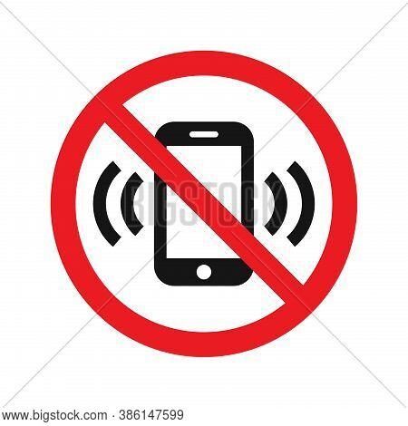 No Phone Red Prohibition Vector Sign. No Cellphones Allowed Zone Symbol.