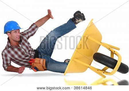 Laborer tumbling down from a barrow