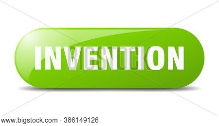 Invention Button. Sticker. Banner. Rounded Glass Sign
