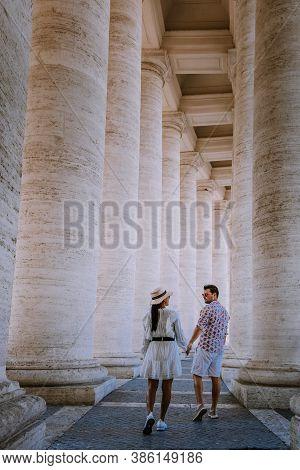 St. Peters Basilica In The Morning From Via Della Conciliazione In Rome. Vatican City Rome Italy. Ro