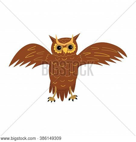Cute Owl Spreads Its Wings. A Majestic Wise Nocturnal Bird Of Prey. Colorful Vector Isolated Illustr