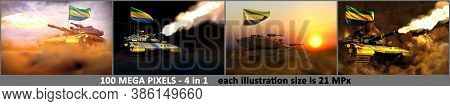 Gabon Army Concept - 4 Detailed Images Of Modern Tank With Fictional Design With Gabon Flag, Militar