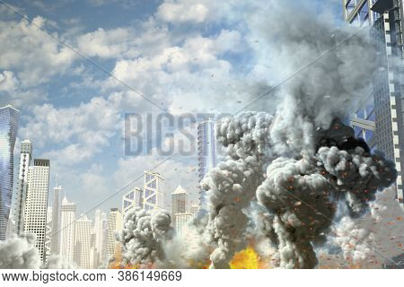 Huge Smoke Pillar And Fire In Abstract City, Concept Of Industrial Disaster Or Terrorist Act On Blue