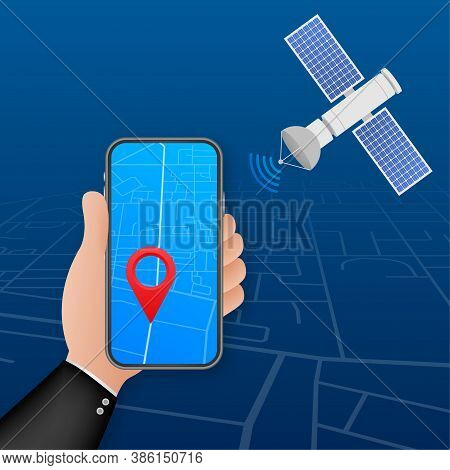 The Satellite. Artificial Satellites Orbiting The Planet Earth, Gps. Vector Stock Illustration.