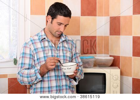 Man eating cereal