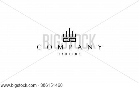 Vector Logo On Which An Abstract Image Of The Greek Pattern And Columns.