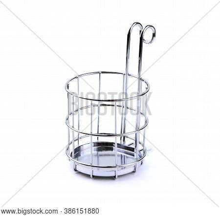 Hanging Chromed Cutlery Holder Isolated On White Background. Holder For Container