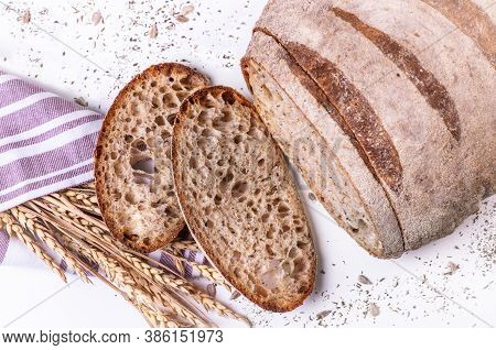 Freshly Baked Bread Isolated On White Background.