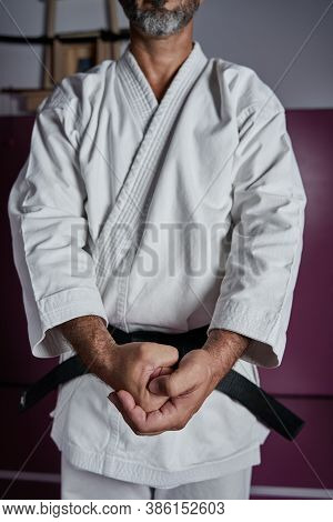 Body Of A Karate Master Posing With His Hands. Karate Salute With Male Hands