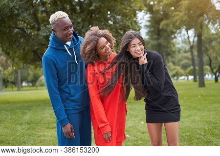 Multi Ethnic Friends Outdoor. Diverse Group People Afro American Asian Spending Time Together Multir