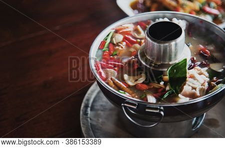 Spicy Thai Food Soup With Chilly, Bergamott Leaf, Ginger, Mushroom And Other Herb For Good Health Fo
