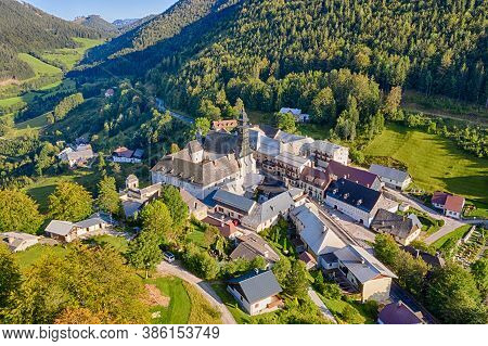Annaberg In Lower Austria, Europe. Aerial Vie To The Lovely Town In The Mostviertel.