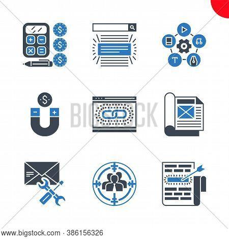 Seo Related Vector Glyph Icons Set. Target Keywords, Audience, Email Support, Search Result, Web Lin