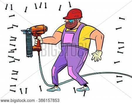 A Worker Drills A Wall With A Drill Or A Puncher. Renovation And Construction. Comics Caricature Ill