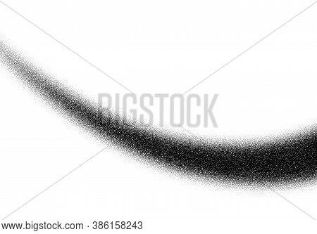 Dotwork Curve Line Pattern Vector Background. Black Noise Stipple Dots. Sand Grain Effect. Ray Dots