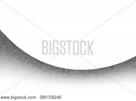 Dotwork Wave Pattern Vector Background. Black Noise Stipple Dots. Sand Grain Effect. Wave Dots Grung