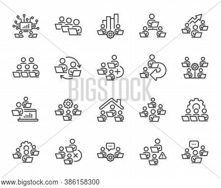 Teamwork Line Icons. Working At Home, Online Team Worker, Remote Office. Artificial Intelligence, Gr