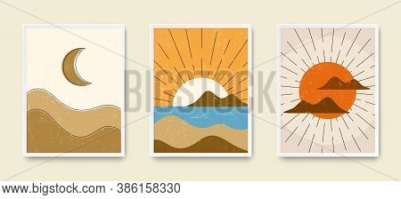 Abstract Art Wall Posters. Grungy Landscape Boho Backgrounds. Set Of Sunrise, Sunset And Moon Night