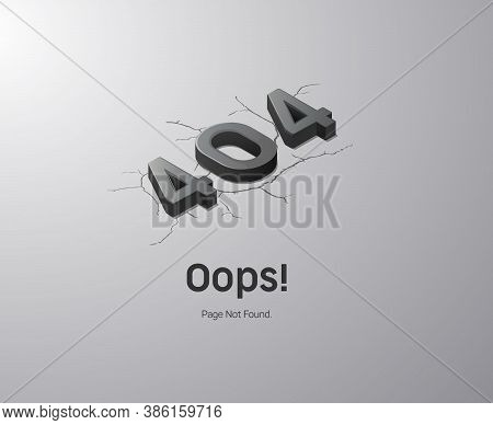 Error 404 Page. Oops! Page Not Found. Black And White Isometric Illustration For Web.