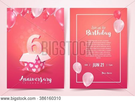 Celebration Of 6 Th Years Birthday Vector Invitation Cards . Sixth Years Anniversary Celebration Fro