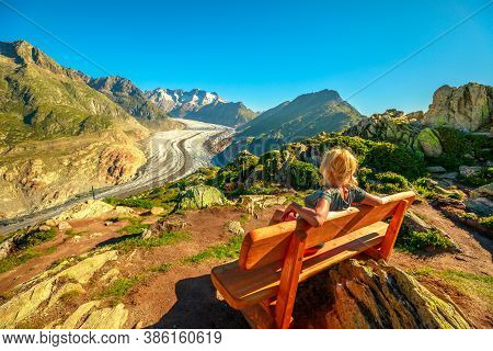 Aletsch Glacier From Moosfluh Viewpoint In Summer With Clear Blue Sky In Swiss Alps, Valais Canton,