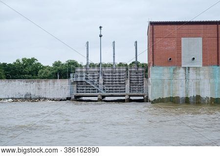 Flood Gate On Orleans Outfall Canal In New Orleans, Louisiana, Usa