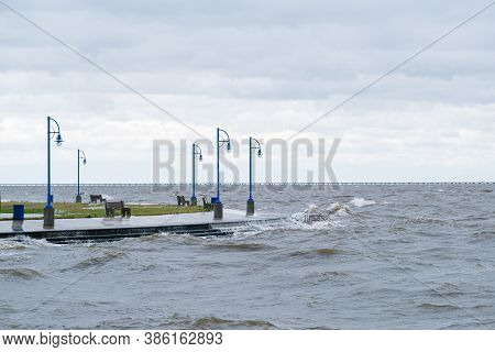 Waves On Lake Pontchartrain In New Orleans Created By Gusts From Hurricane Sally
