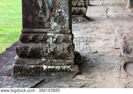 beautiful old columns in a Angkor Wat