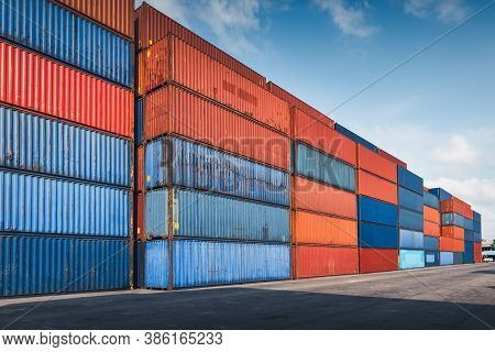 Stack Of Containers Cargo Ship Import/export In Harbor Port, Cargo Freight Shipping Of Container Log