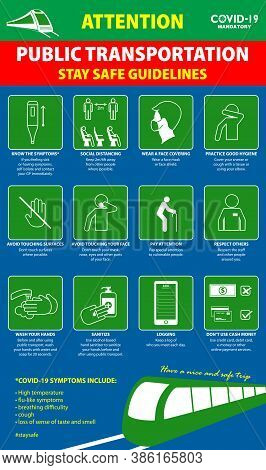 The Public Transport Poster Or Public Health Practices For Covid-19 Or Health And Safety Protocols O