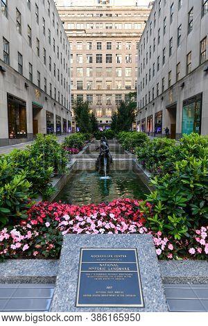 New York, Ny / Usa - Jul 2, 2020: Empty Rockefeller Center During Coronavirus Pandemic.