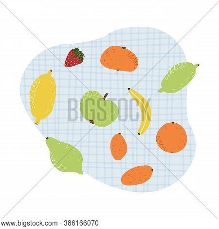 Various Fruits On A Tartan Tablecloth Set.hand-drawn Lemon, Lime, Tangerine, Kumquat, Orange, Apple,