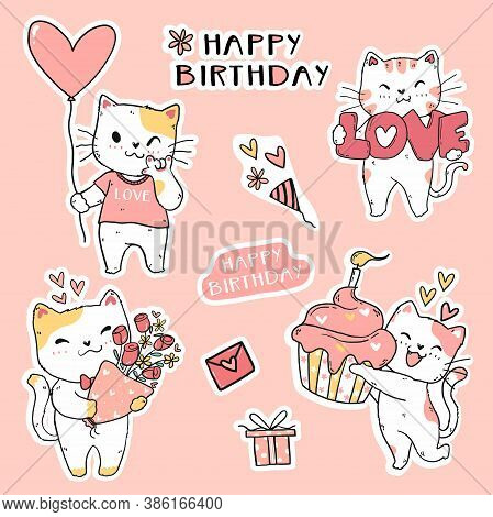 Cute Funny Cat Birthday Set Element Clip Art Doodle Vector For Sticker, Journal, Printable And Greet