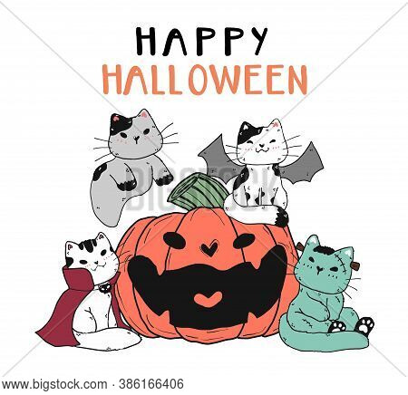 Cute Funny Cat Friend Gang Group In Halloween Costume With Smile Craved Pumpkin Flat Vector Doodle C