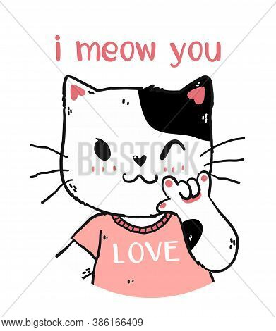 Cute Happy White And Pink Cat I Meow You With Love You Hand Gesture Signage Portrait Half Body Doodl