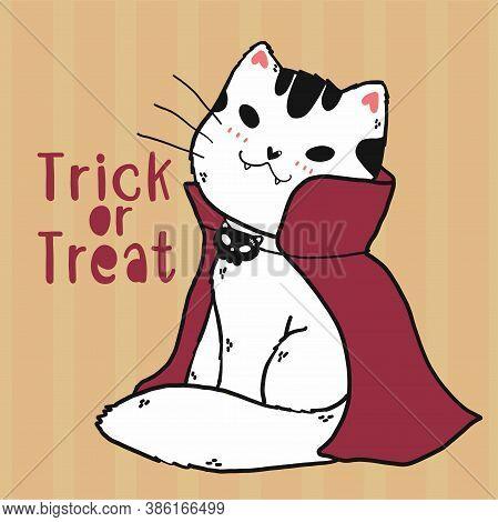 Cute Doodle Cat Vampire Costume Trick Or Treat Halloween Cartoon Clip Art Flat Vector, Idea For Gree