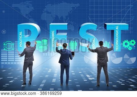 Business people in PEST analysis business concept