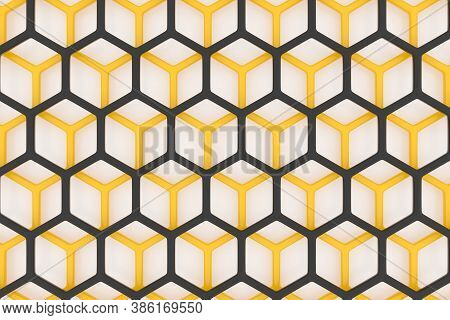 3d Illustration Of A Yellow And Black Honeycomb Monochrome Honeycomb For Honey. Pattern Of Simple Ge