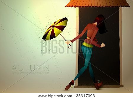 Autumn Background | Young Woman hiding from Rain with Umbrella | Layered EPS10 Vector Illustration
