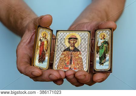 Christian Icon Of St. Dmitry Donskoy And The Archangels Gabriel And Michael In Their Hands. The Insc