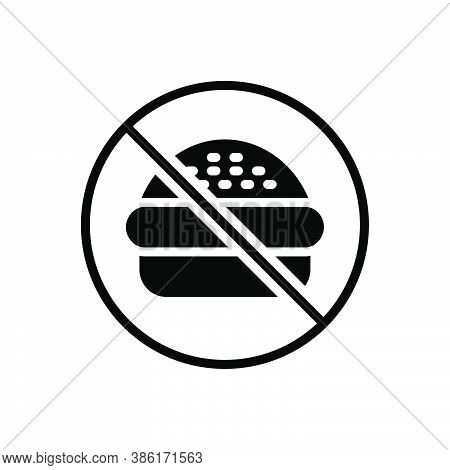Black Solid Icon For No Nope Prohibited Burger Fastfood Forbidden Ban Unhealthy Junkfood