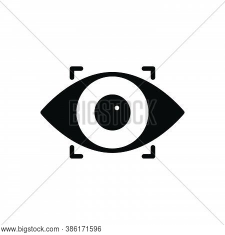 Black Solid Icon For Recognize Observe Eye Scanner Biometric Recognition Retina Eyeball